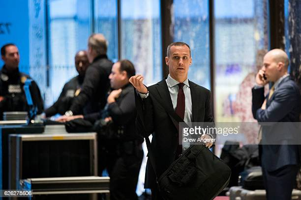 Former Trump campaign manager Corey Lewandowski arrives at Trump Tower November 28 2016 in New York City Presidentelect Donald Trump and his...