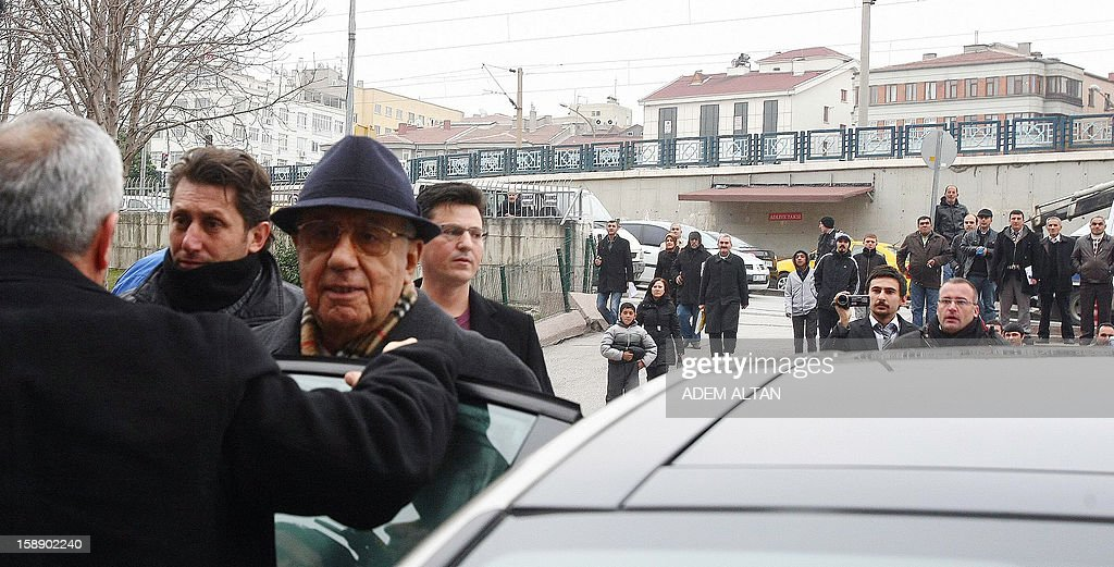 Former Turkish Chief of Staff Ismail Hakki Karadayi (3rd L) arrives at a courthouse in Ankara on January 3, 2013. A prosecutor began questioning Karadayi for his role in the ousting of an Islamic-led coalition government in 1997. Authorities in Turkey have detained a former military chief for his alleged role in a 1997 coup that forced an Islamic-leaning government from power, Anatolia news agency reported on January 3. The retired general, Ismail Hakki Karadayi, is expected to testify before an Ankara court as part of an investigation that was launched in 2011 and has led to the arrests of dozens of military officers.