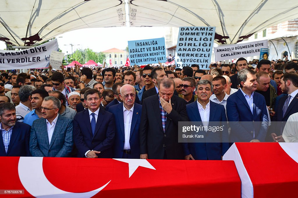 Former Turkish President Abdullah Gul Turkish President Recep Tayyip Erdogan Turkey's Grand National Assembly President Ismail Kahraman and former PM...