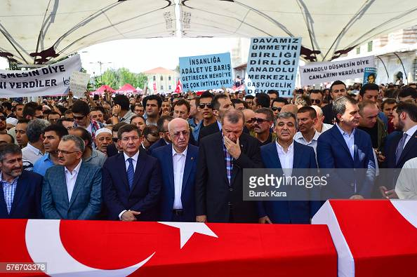 Former Turkish President Abdullah Gul Turkish President Recep Tayyip Erdogan Turkey's Grand National Assembly President Ismail Kahraman and former PM...