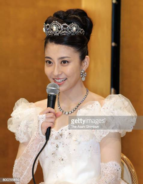 Former TV anchor Mao Kobayashi speaks at the press conference after her wedding to Actor Ebizo Ichikawa on July 29 2010 in Tokyo Japan