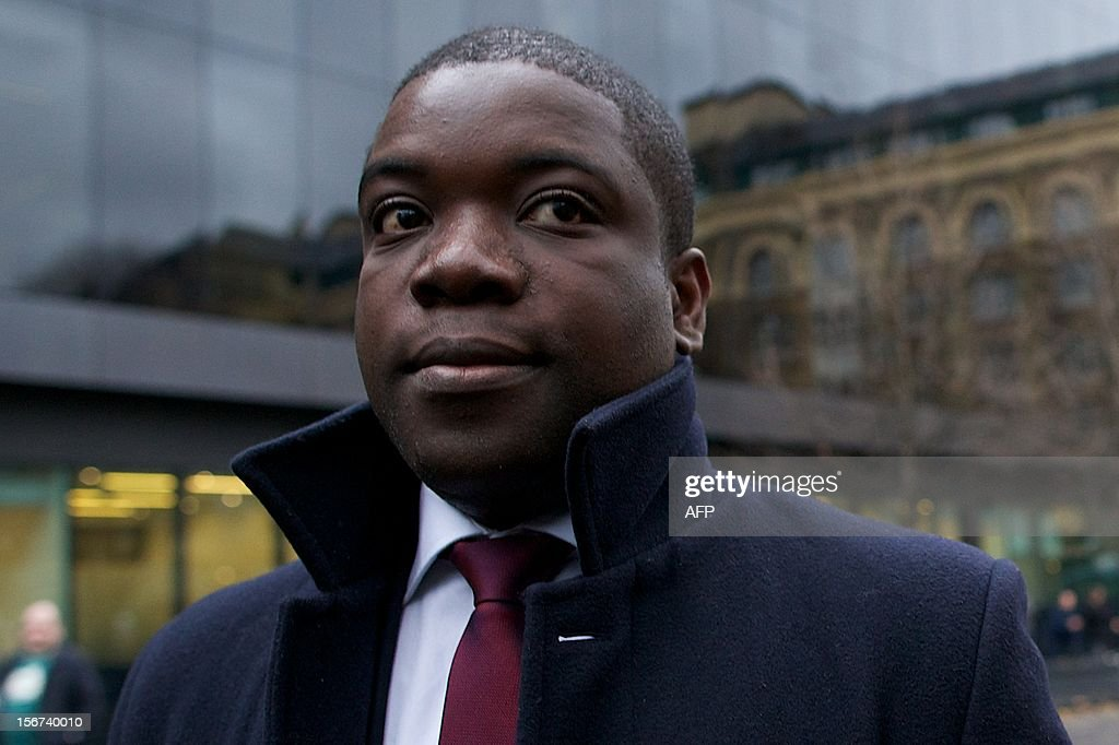Former UBS banker Kweku Adoboli, accused of losing 2.3 billion USD (1.78 billion euros) through fraudulent deals at the bank's London offices, arrives at Southwark Crown Court in London on November 20, 2012 as the jury continues to deliberate on a verdict. Adoboli, 32, who lost £1.4 billion of Swiss bank UBS's money, was found guilty of one count of fraud at Southwark Crown Court, in London. The jury was still deliberating on other charges. AFP PHOTO / ANDREW COWIE
