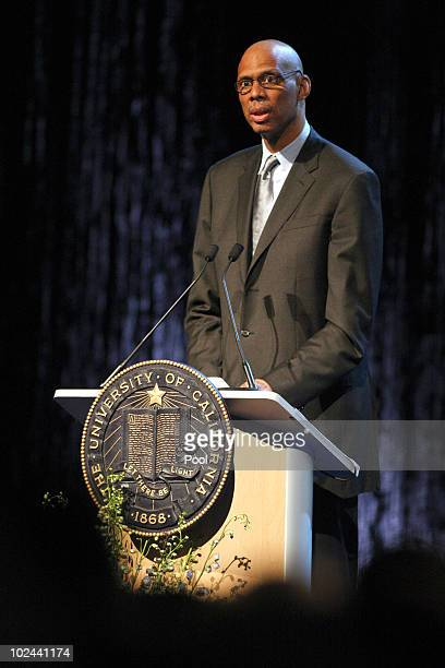 Former UCLA and NBA player Kareem Abdul Jabbar delivers remarks during the memorial service for former UCLA basketball coach John Wooden on June 26...