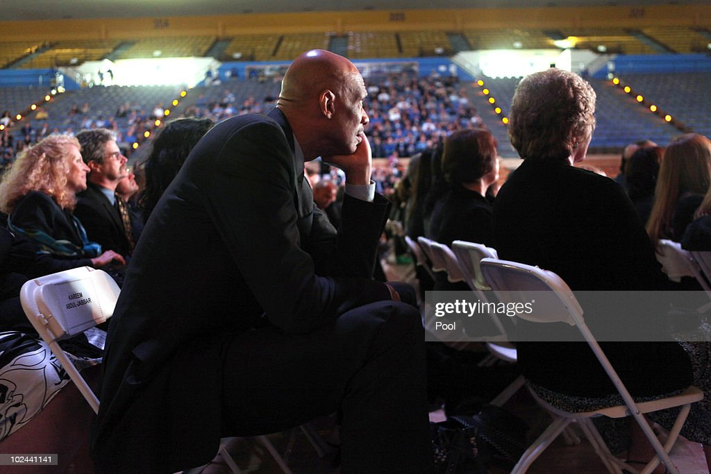 Former UCLA and NBA player Kareem Abdul Jabbar watches the memorial service for former UCLA basketball coach John Wooden on June 26, 2010 at Pauley Pavilion on the University of California Los Angeles campus in Westwood, California. Wooden coached the Bruins basketball team for 27 years and won 10 NCAA championships.