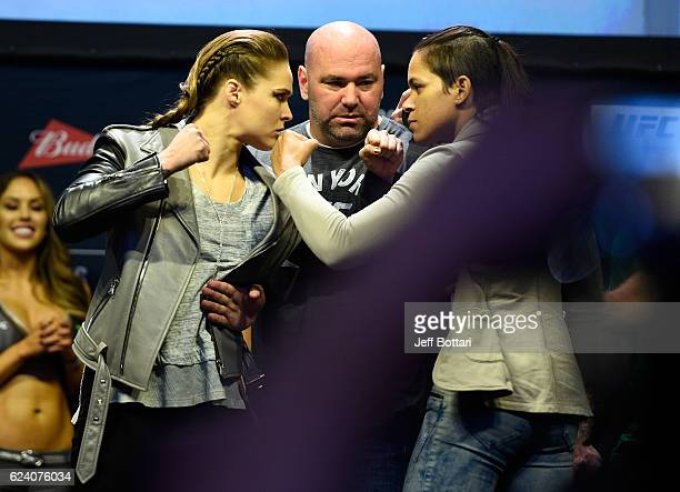 Former UFC bantamweight champion Ronda Rousey and UFC bantamweight champion Amanda Nunes face off after the UFC 205 weighin inside Madison Square...