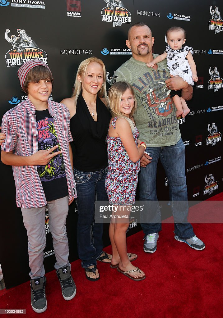 Former UFC Fighter <a gi-track='captionPersonalityLinkClicked' href=/galleries/search?phrase=Chuck+Liddell&family=editorial&specificpeople=608181 ng-click='$event.stopPropagation()'>Chuck Liddell</a> and his family attend the 9th annual Stand Up For Skateparks benefit at Ron Burkle's Green Acres Estate on October 7, 2012 in Beverly Hills, California.