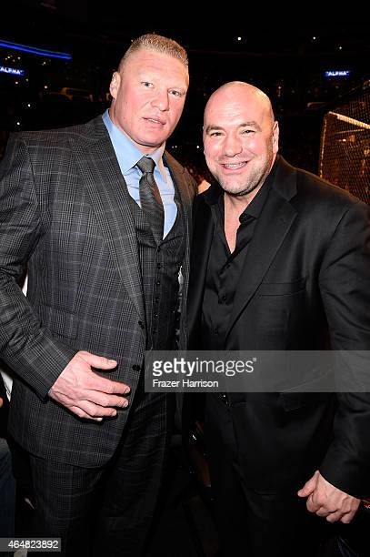 Former UFC Heavyweight Champion Brock Lesnar and UFC President Dana White in attendance during the UFC 184 event at Staples Center on February 28...