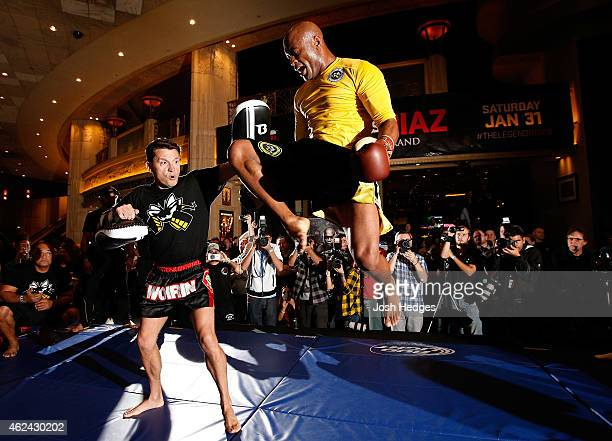 Former UFC middleweight champion Anderson Silva holds an open training session for fans and media at the MGM Grand Hotel/Casino on January 28 2015 in...
