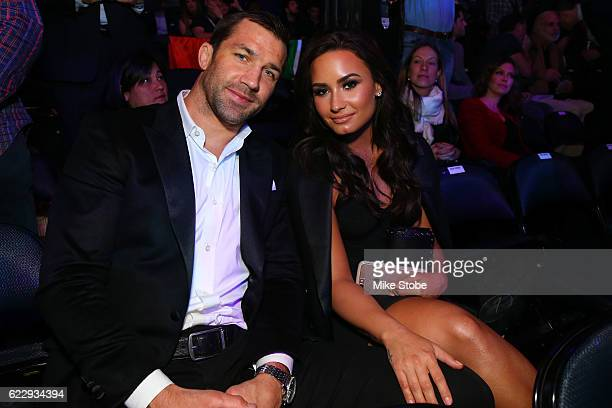 Former UFC middleweight champion Luke Rockhold and musician Demi Lavato during attend the UFC 205 event at Madison Square Garden on November 12 2016...