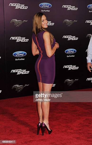 Former UFC Octagon girl Amber Miller arrives at the Los Angeles premiere of 'Need For Speed' at TCL Chinese Theatre on March 6 2014 in Hollywood...