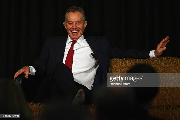 Former UK Prime Minister Tony Blair speaks during his five city Australasian speaking tour on July 28 2011 in Auckland New Zealand In his only...