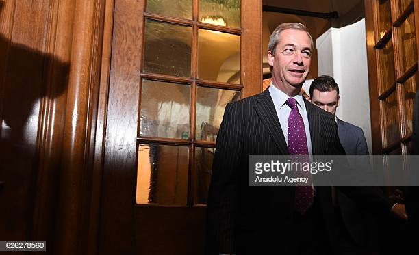 Former UKIP leader Nigel Farage arrives after Paul Nuttall has been named as the new party leader on November 28 2016 in London England The previous...