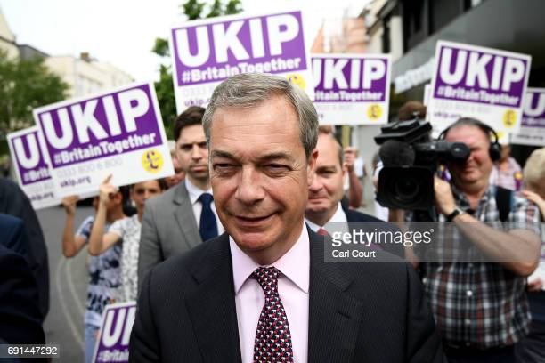 Former UKIP leader Nigel Farage arrives to campaign with Clacton's UKIP Candidate on June 2 2017 in ClactononSea England All parties continue to...