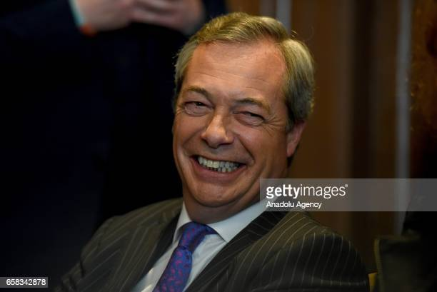 Former UKIP leader Nigel Farage attends a press conference on March 27 2017 in London England UKIP leader delivers speech in which he sets out 'six...