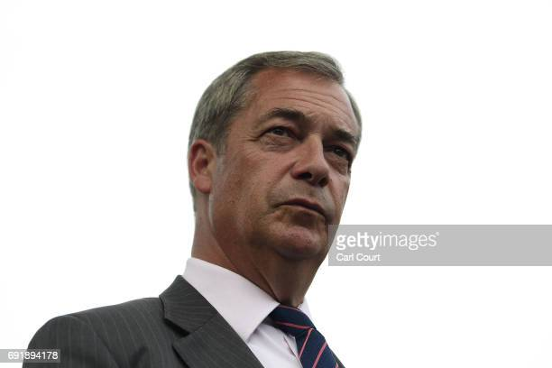 Former UKIP leader Nigel Farage looks on as he campaigns ahead of the general election on June 3 2017 in Ramsgate England All parties continue to...