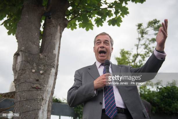 Former Ukip leader Nigel Farage makes a speech in Ramsgate while on the general election campaign trail in South Thanet