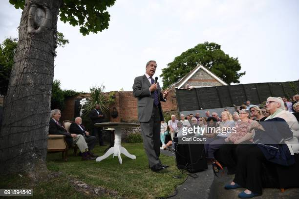 Former UKIP leader Nigel Farage speaks as he campaigns ahead of the general election on June 3 2017 in Ramsgate England All parties continue to push...