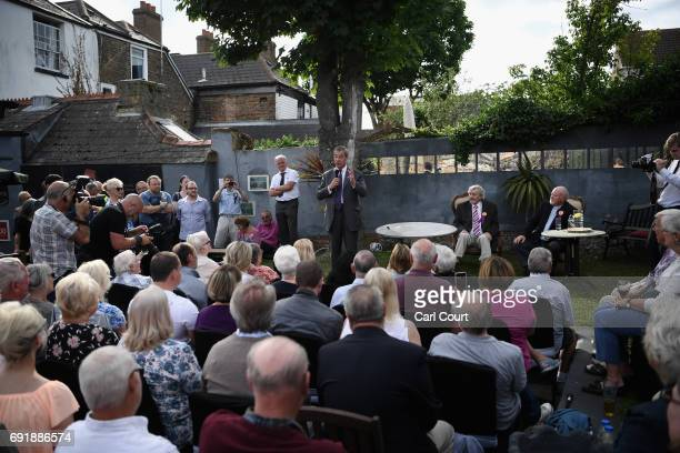 Former UKIP leader Nigel Farage speaks during a party rally as he campaigns ahead of the general election on June 3 2017 in Ramsgate England All...