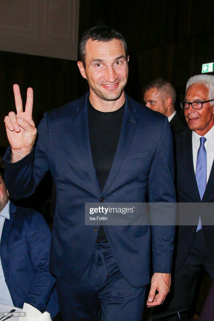 Former Ukrainian boxing champion Wladimir Klitschko attends the German Boxing Awards 2017 on October 8, 2017 in Hamburg, Germany.