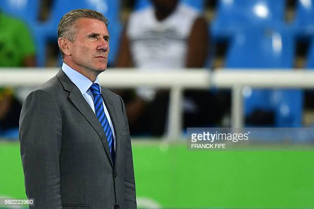 Former Ukrainian pole vaulter Sergey Bubka attends the podium ceremony for the Men's 200m during the athletics event at the Rio 2016 Olympic Games at...