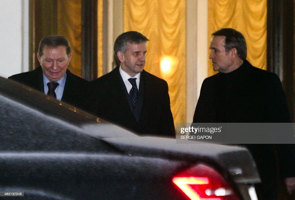 Former Ukrainian President <a gi-track='captionPersonalityLinkClicked' href=/galleries/search?phrase=Leonid+Kuchma&family=editorial&specificpeople=239079 ng-click='$event.stopPropagation()'>Leonid Kuchma</a> (L) and Russian Ambassador to Ukraine Mikhail Zurabov (C) leave the presidential residence in Minsk on February 10, 2015 after the talks aimed at ending the bloody conflict in eastern Ukraine ahead of a high-profile summit between Ukraine, Russia, Germany and France. Wednesday's planned summit of heads of state from France, Germany, Russia and Ukraine is billed as a last-ditch chance to prevent an irreversible breakdown in attempts to resolve peacefully the conflict between pro-Russian separatists and Ukrainian government forces.