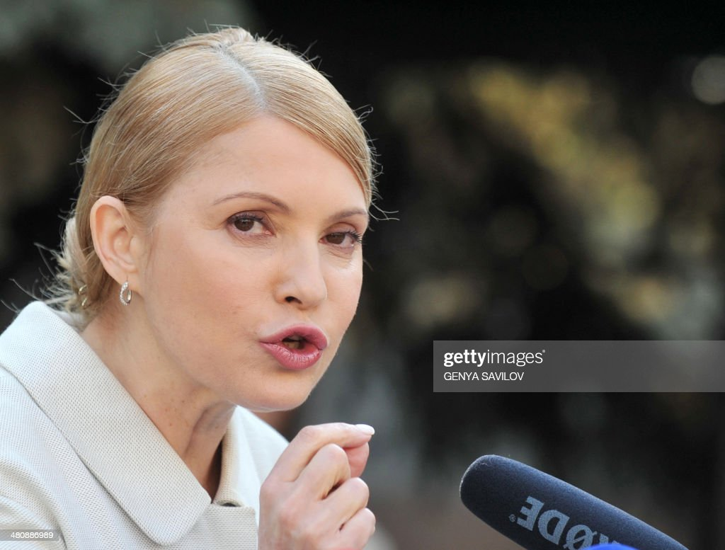 Former Ukrainian prime minister and opposition leader <a gi-track='captionPersonalityLinkClicked' href=/galleries/search?phrase=Yulia+Tymoshenko&family=editorial&specificpeople=546280 ng-click='$event.stopPropagation()'>Yulia Tymoshenko</a> speaks during a press conference in Kiev on March 27, 2014. Ukraine's formerly jailed divisive opposition icon <a gi-track='captionPersonalityLinkClicked' href=/galleries/search?phrase=Yulia+Tymoshenko&family=editorial&specificpeople=546280 ng-click='$event.stopPropagation()'>Yulia Tymoshenko</a> completed an improbable return to politics on March 27 following her release on February 22, by confirming plans to run for president in elections on May 25.