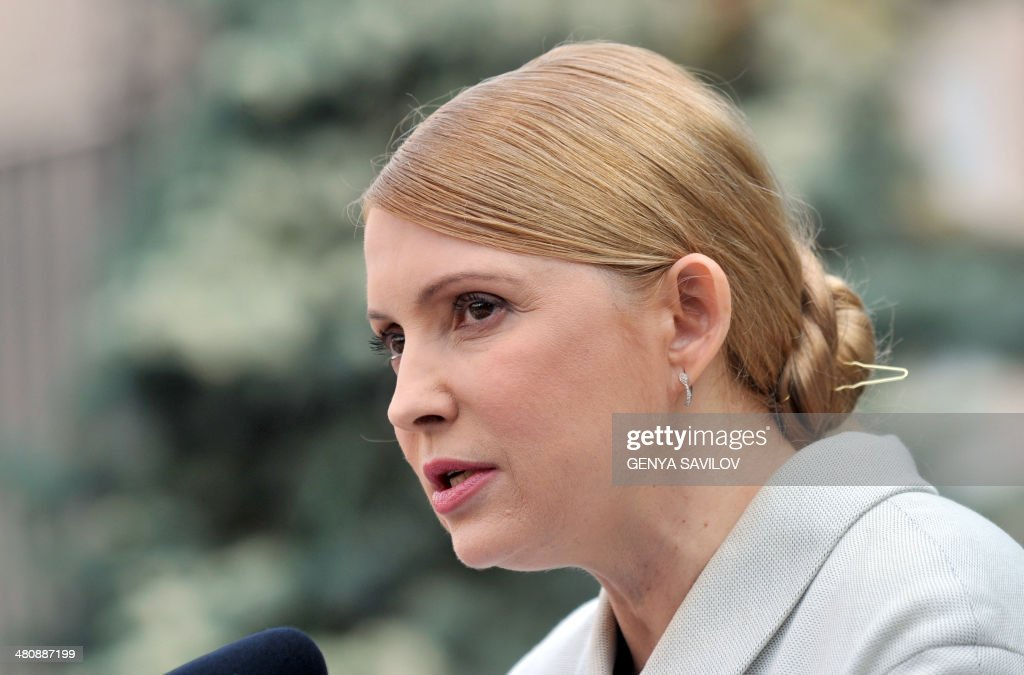 Former Ukrainian prime minister and opposition leader <a gi-track='captionPersonalityLinkClicked' href=/galleries/search?phrase=Yulia+Tymoshenko&family=editorial&specificpeople=546280 ng-click='$event.stopPropagation()'>Yulia Tymoshenko</a> speaks during a press conference in Kiev on March 27, 2014. Ukraine's formerly jailed divisive opposition icon <a gi-track='captionPersonalityLinkClicked' href=/galleries/search?phrase=Yulia+Tymoshenko&family=editorial&specificpeople=546280 ng-click='$event.stopPropagation()'>Yulia Tymoshenko</a> completed an improbable return to politics on March 27 following her release on February 22, by confirming plans to run for president in elections on May 25. AFP PHOTO/GENYA SAVILOV