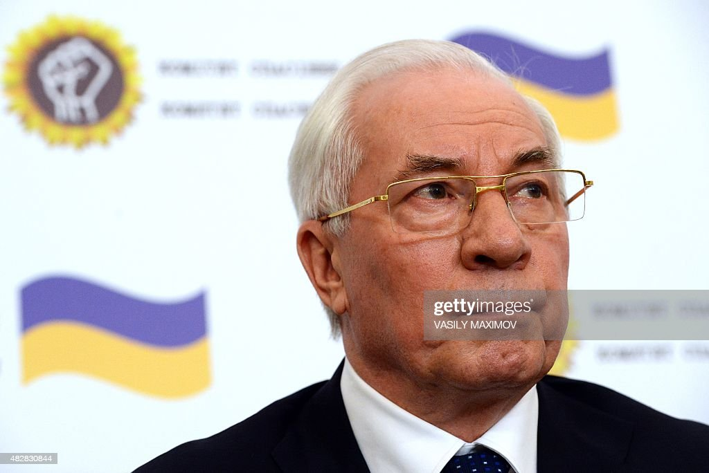 Former Ukrainian Prime Minister Nikolai Azarov looks on during a press conference of the newly created 'Committee for the Salvation of Ukraine' in Moscow on August 3, 2015. AFP PHOTO / VASILY MAXIMOV