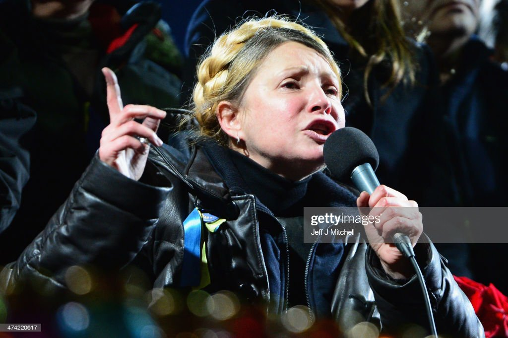 Former Ukrainian Prime Minister <a gi-track='captionPersonalityLinkClicked' href=/galleries/search?phrase=Yulia+Tymoshenko&family=editorial&specificpeople=546280 ng-click='$event.stopPropagation()'>Yulia Tymoshenko</a> addresses the crowd in Independence Square after being freed from prison on February 22, 2014 in Kiev, Ukraine. Ukrainian members of parliament have voted to oust Viktor Yanukovych and bring presidential elections forward to the 25th of May.