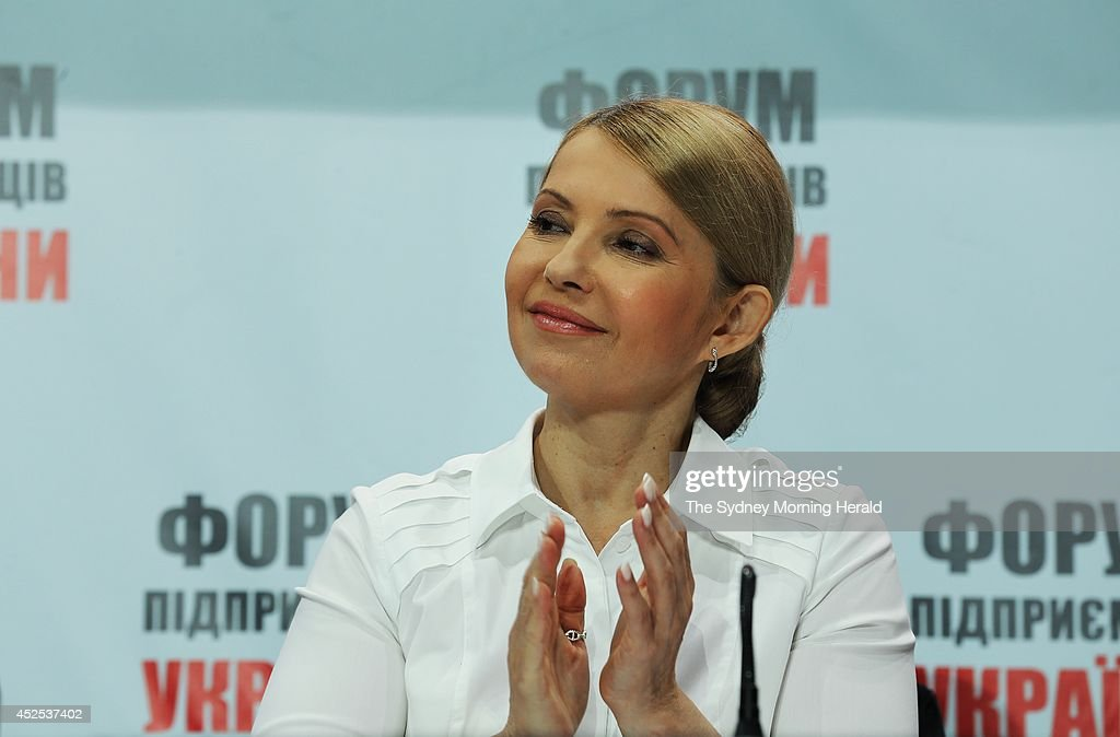 Former Ukrainian Prime Minister, <a gi-track='captionPersonalityLinkClicked' href=/galleries/search?phrase=Yulia+Tymoshenko&family=editorial&specificpeople=546280 ng-click='$event.stopPropagation()'>Yulia Tymoshenko</a>, speaks at a business conference in Kiev, Ukraine, May 20, 2014.