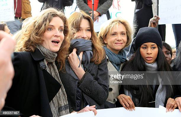 Former UMP mayoral candidate in Paris Nathalie KosciuskoMorizet former French first lady Carla Bruni French opposition party UMP's member of...