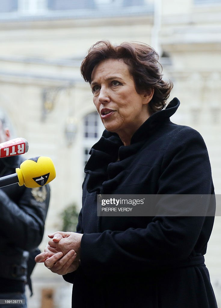 Former UMP right-wing party Minister Roselyne Bachelot, member of the Haut conseil a l'Egalite hommes-femmes (HCEF, High Council for Gender Equality) speaks to journalists as she arrives for the set up of the committee at the Hotel Matignon, the Prime Minister official residence, in Paris, on January 8, 2013.