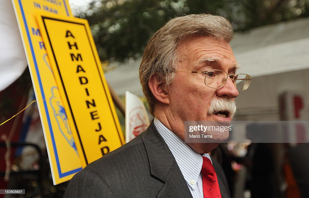 Former U.N. Ambassador John Bolton attends a rally of groups opposing Iranian President Ahmadinejad's speech at the United Nations General Assembly on September 26, 2012 in New York City. Politicians including former New York Mayor Rudolph Giuliani, former House Speaker Newt Gingrich and former New Mexico Governor Bill Richardson also spoke at the pro-democracy rally which also included Syrian pro-democracy protesters.