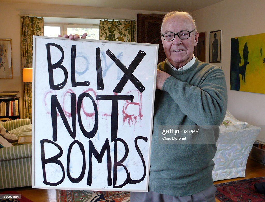 Former UN weapons inspector <a gi-track='captionPersonalityLinkClicked' href=/galleries/search?phrase=Hans+Blix&family=editorial&specificpeople=215493 ng-click='$event.stopPropagation()'>Hans Blix</a>, holding a placard found after an anti-war demo in New York, pictured in Stockholm, Sweden, 23rd October 2013. The picture was taken after an interview for the documentary 'We Are Many', directed by Amir Amirani.