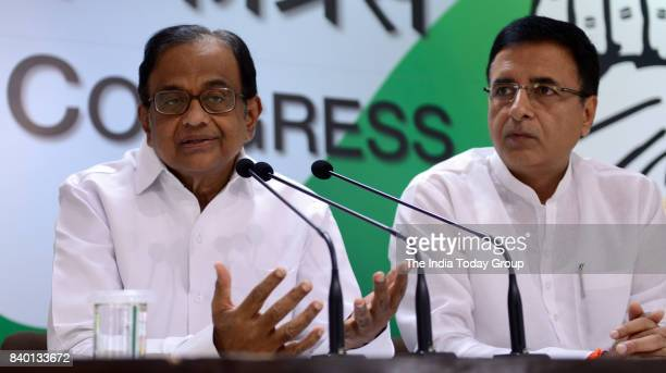 Former Union Finance Minister and senior Congress leader PChidambaram during the press conference in New Delhi