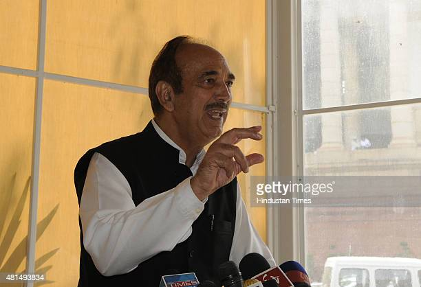Former Union Health Minister and Congress leader Ghulam Nabi Azad addresses the media on the first day of monsoon session at Parliament House on July...