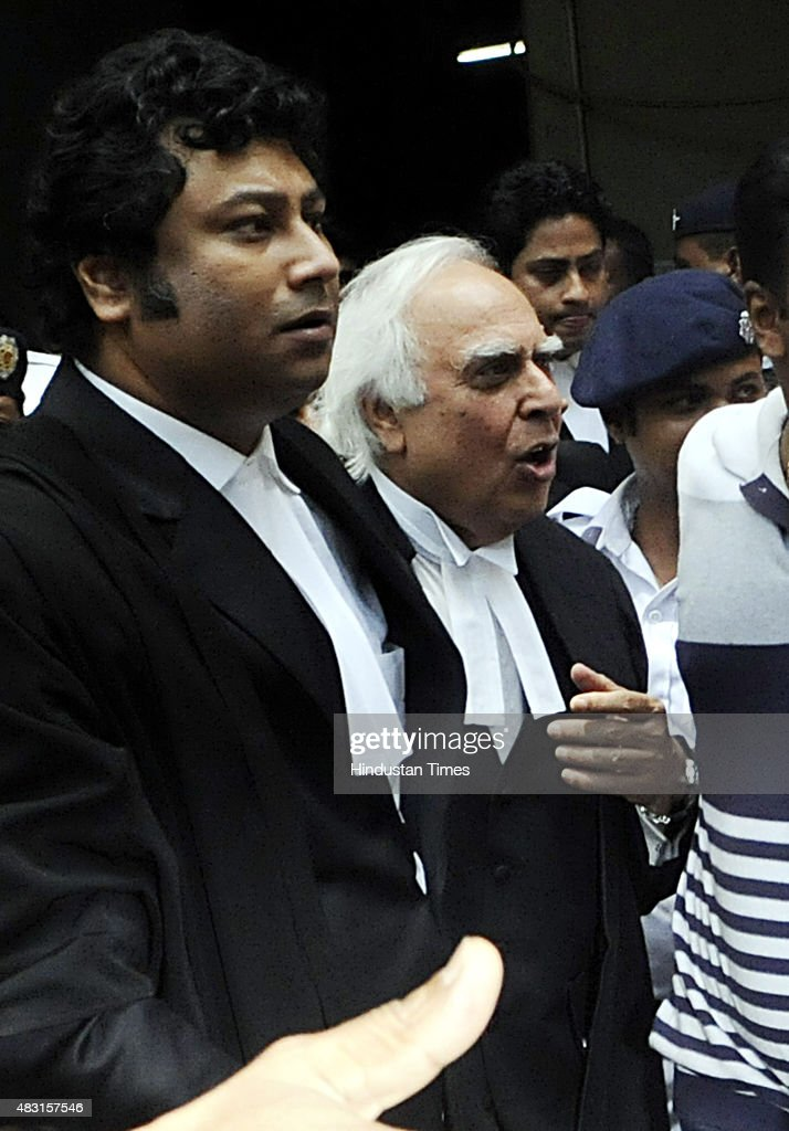 Former Union Minister and Senior Lawyer <a gi-track='captionPersonalityLinkClicked' href=/galleries/search?phrase=Kapil+Sibal&family=editorial&specificpeople=791656 ng-click='$event.stopPropagation()'>Kapil Sibal</a> seen entering Calcutta High Court to plead for Madan Mitra's bail on August 6, 2015 in Kolkata India. The Calcutta High Court rejected the bail plea of West Bengal Transport Minister Madan Mitra, arrested by the CBI in the multi-crore rupee Saradha scam.