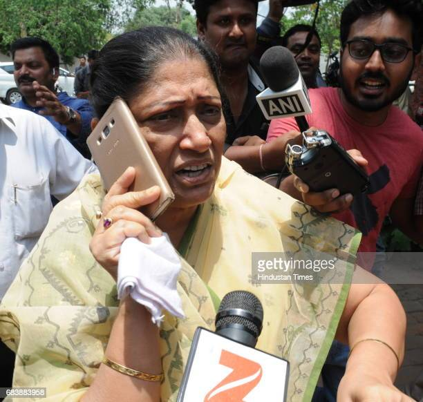 Former Union Minister Kanti Singh speaks to media outside RJD Chief Lalu Prasad's residence during income tax raid on May 16 2017 in Patna India The...