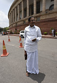 Former Union Minister of Finance and Newly Rajya Sabha MP P Chidambaram during the Parliament Monsoon Session on July 18 2016 in New Delhi India A...
