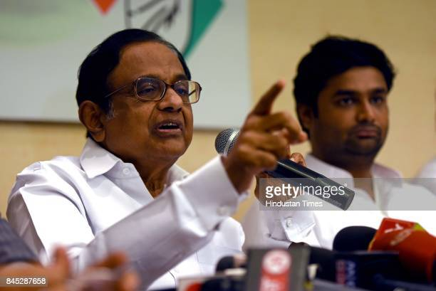 Former Union Minister P Chidambaram addresses a press conference at Rajiv Gandhi Bhavan CST on September 9 2017 in Mumbai India Chidambaram dared...