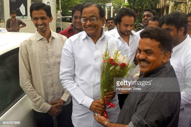 Former Union Minister P Chidambaram arrives for a press conference at Rajiv Gandhi Bhavan CST on September 9 2017 in Mumbai India Chidambaram dared...