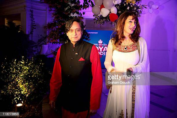 Former Union Minister Shashi Tharoor and his wife Sunanda Pushkar attend a function in the High Commissioners residence to celebrate the royal...