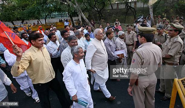Former Union minister Yashwant Sinha along with DTC employees protest in New Delhi on Tuesday March 16 2010