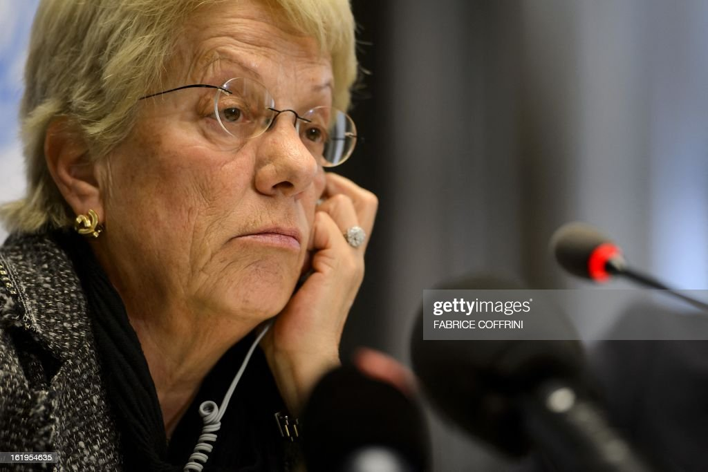Former United Nations (UN) prosecutor and member of a UN-mandated commission of inquiry on the Syria conflict, Swiss Carla del Ponte looks on during a press conference on February 18, 2013 in Geneva. The International Criminal Court should be called in to probe war crimes in Syria, former UN prosecutor Carla del Ponte said.