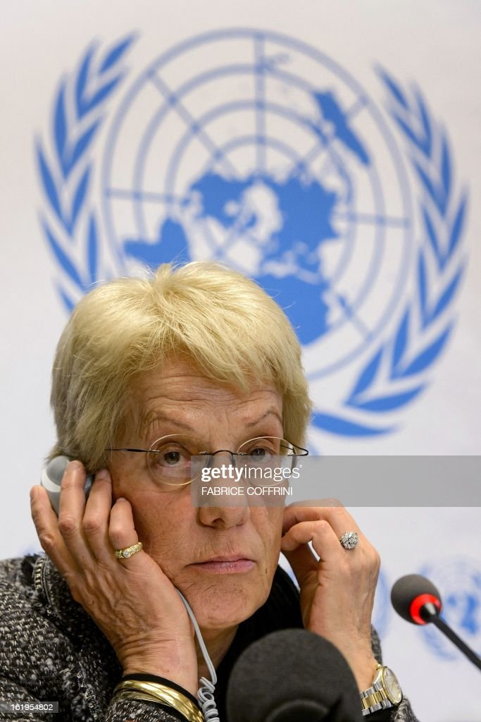 Former United Nations (UN) prosecutor and member of a UN-mandated commission of inquiry on the Syria conflict, Swiss Carla del Ponte looks on during a press conference on February 18, 2013 in Geneva. The International Criminal Court should be called in to probe war crimes in Syria, former UN prosecutor Carla del Ponte said. AFP PHOTO / FABRICE COFFRINI