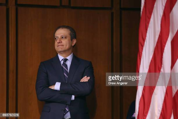 Former United States Attorney for the Southern District of New York Preet Bharara attends the Senate Intelligence Committee where FBI Director James...