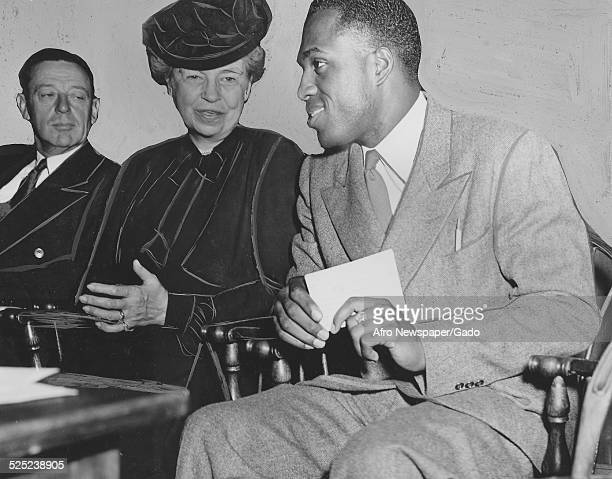 Former United States First Lady Eleanor Roosevelt and AfricanAmerican jazz vibraphonist pianist percussionist bandleader and actor Lionel Hampton New...