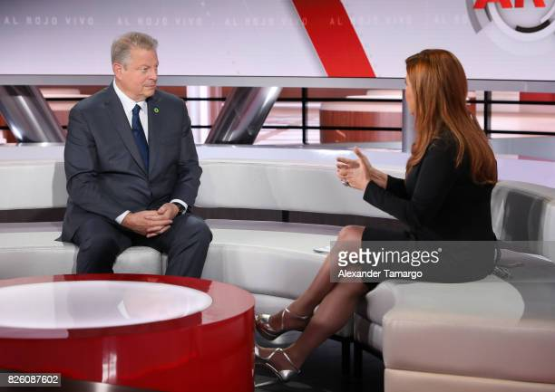 Former United States of America Vice President Al Gore and Maria Celeste Arraras are seen on the set of 'Al Rojo Vivo' to promote the film 'An...