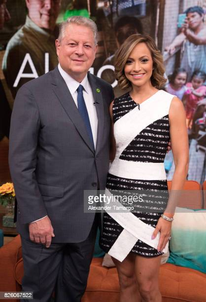 Former United States of America Vice President Al Gore and Satcha Pretto are seen on the set of 'Despierta America' to promote the film 'An...