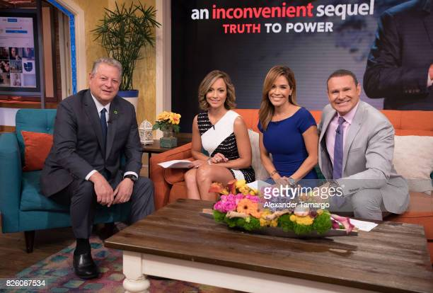 Former United States of America Vice President Al Gore Satcha Pretto Karla Martinez and Alan Tacher are seen on the set of 'Despierta America' to...
